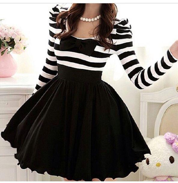 Dress stripes pretty. girly party black classy sweet skirt pretty ribbon black and ...