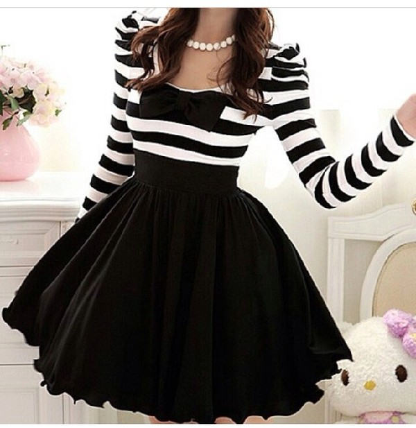 dress stripes pretty. girly party black classy sweet skirt pretty ribbon black and white dress bows pearl dress with striped top and black bottom white cute lovely stripes striped dress kawaii bow black dress striped top puffy dress poofy dress Help need this dress