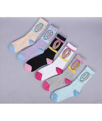 socks pastel fashion style trendy blue yellow black donut colorful teenagers it girl shop