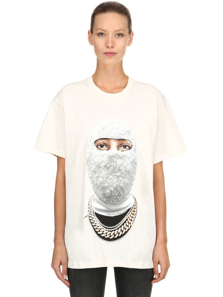 IH NOM UH NIT Printed Cotton Jersey T-shirt in white