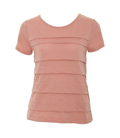 Pink ss pleat detail top at a