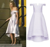 dress,riverdale,betty cooper,prom,off the shoulder,white,silk