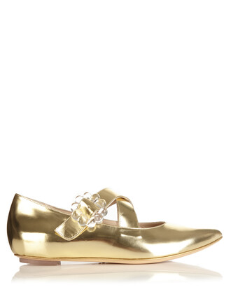 cross flats leather flats leather gold shoes