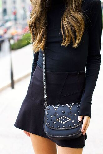 skirt tumblr mini skirt black skirt top black top all black everything bag black bag crossbody bag embellished embellished bag skater skirt