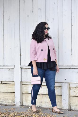 jacket top plus size interview outfit curvy plus size work outfits office outfits pink jacket chanel brooch denim jeans blue jeans flats black top bag pink bag plus size jeans