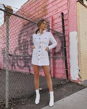 dress,mini dress,white dress,denim dress,white denim,long sleeve dress,button up,belted dress,ankle boots,white boots