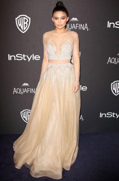 Kylie Jenner Kylie Jenner Dress Prom Dress Gold Sequins See