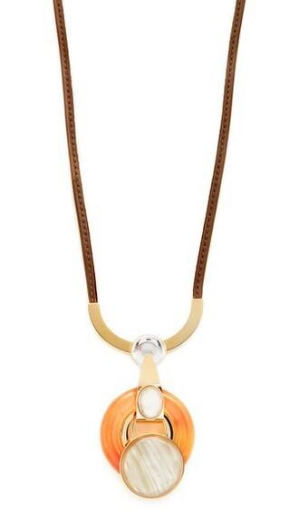 metal necklace orange jewels