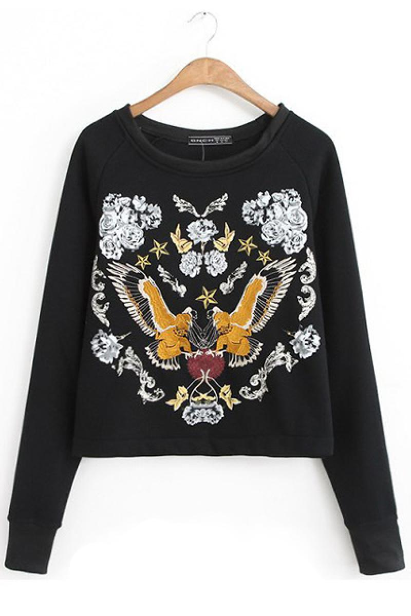 Western Bird Totem Printing Embroidery Short Section Sweater,Cheap in Wendybox.com