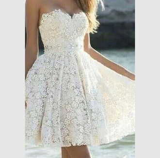 dress white dress cream dress fashion floral dress flowy dress pretty style strapless dresses strapless dress