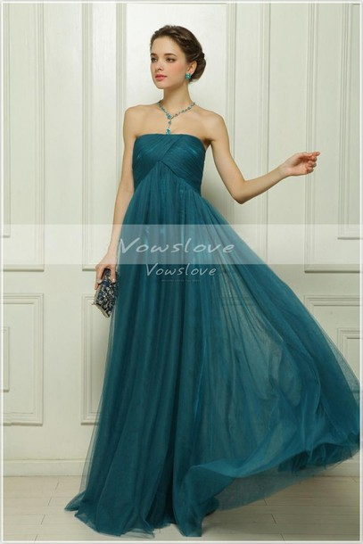 dress, teal, tulle wedding dress, tulle dress, strapless, prom dress ...
