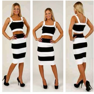 dress two-piece set skirt pencil skirt crop tops top black white black and white stripes gorgeous. gorgeous outfit