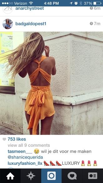 romper jumpsuit orange rompe flowy orange jumpsuit backless strappy cute dress flowy dress summer dress wrap dress summer orange tank top orange dress