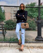 shoes,mules,leopard print,jeans,ripped jeans,sweater,knitted sweater,turtleneck sweater,handbag,sunglasses