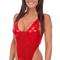 Womens one piece thong swim suit in metallic mystique volcano red