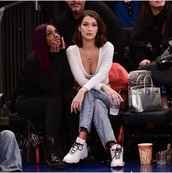 shoes,bella hadid,jordans,sneakers,white,red,top,90s style,jays,long sleeves,jeans