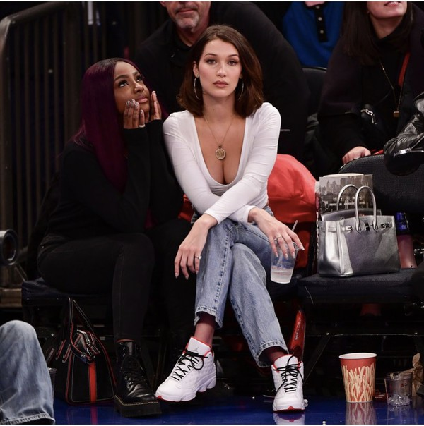 shoes bella hadid jordans sneakers white red top 90s style jays long sleeves jeans