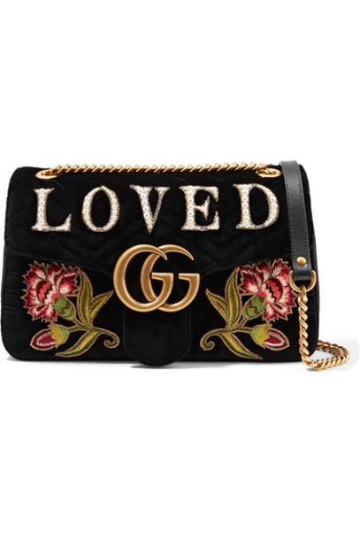 gucci embroidered bag shoulder bag black velvet