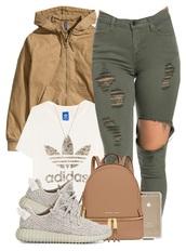bag,backpack,michael kors bag,ripped jeans,jeans,khaki green,jacket,shirt,addidas shirt