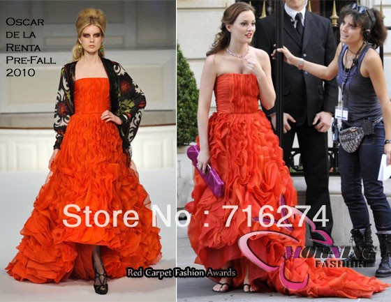 Blake lively  leighton meester gossip girl blair prom dress  red strapless evening celebrity dresses  prom gown