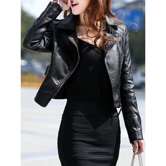 jacket rose wholesale black black dress leather jacket all black everything asian