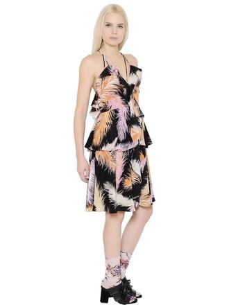 dress feathers print silk