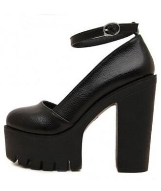 shoes black grunge platform shoes trendy thick heel fashion style cool closed ankle platform sandals