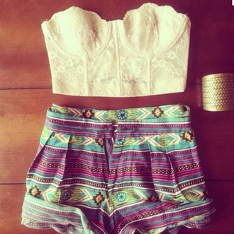 shorts summer outfits corset top crop tops tribal pattern white lace top high waisted shorts tribal shorts cuff bracelet cute shirt