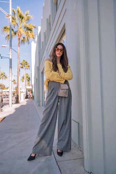 sweater tumblr yellow yellow sweater pants grey pants wide-leg pants sunglasses high waisted pants
