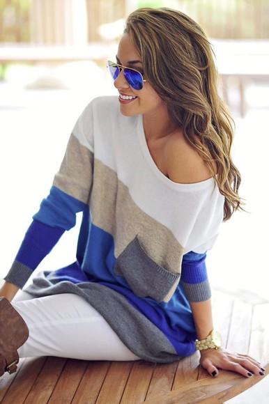 blouse off the shoulder sunglasses