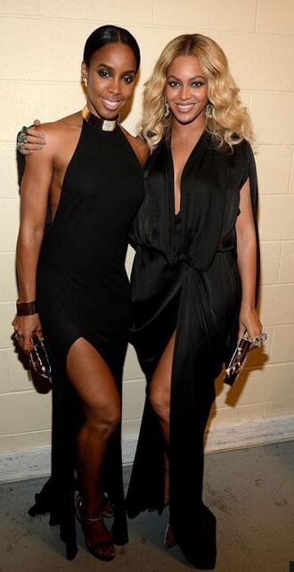 bag clutch slit dress plunge v neck beyonce gown