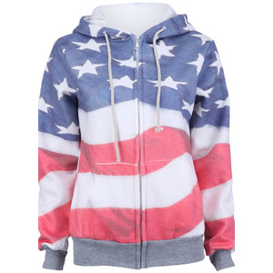 Grey america flag print hooded zip up sweatshirt