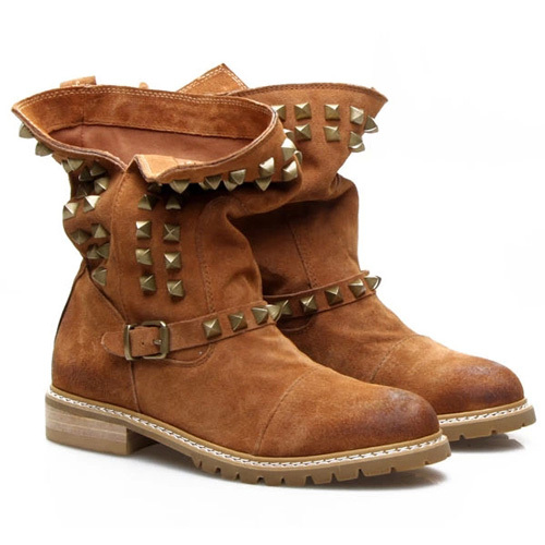 [grxjy5190706]british style rivets round toe flat heel motorcycle boots
