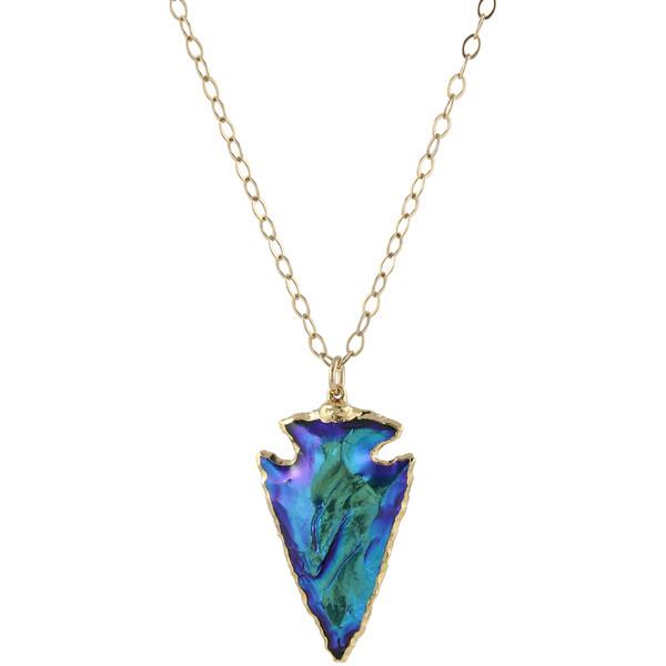 Galactic blue arrowhead necklace