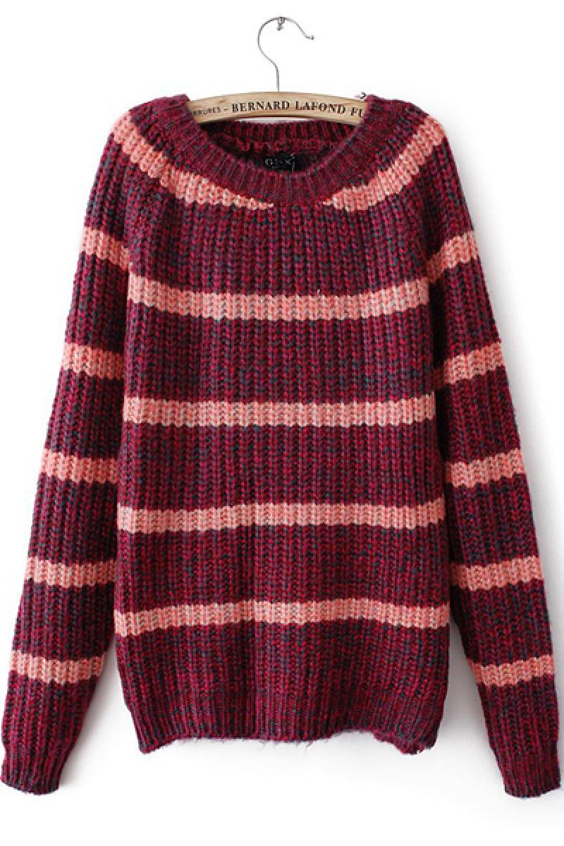 Color Stripes Knitted Sweater,Cheap in Wendybox.com