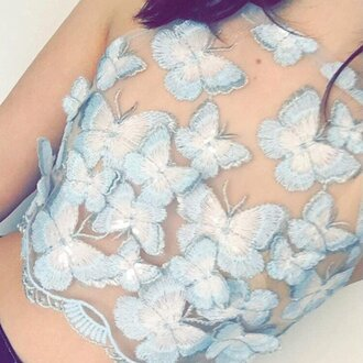 top butterfly crop tops love blue transparent