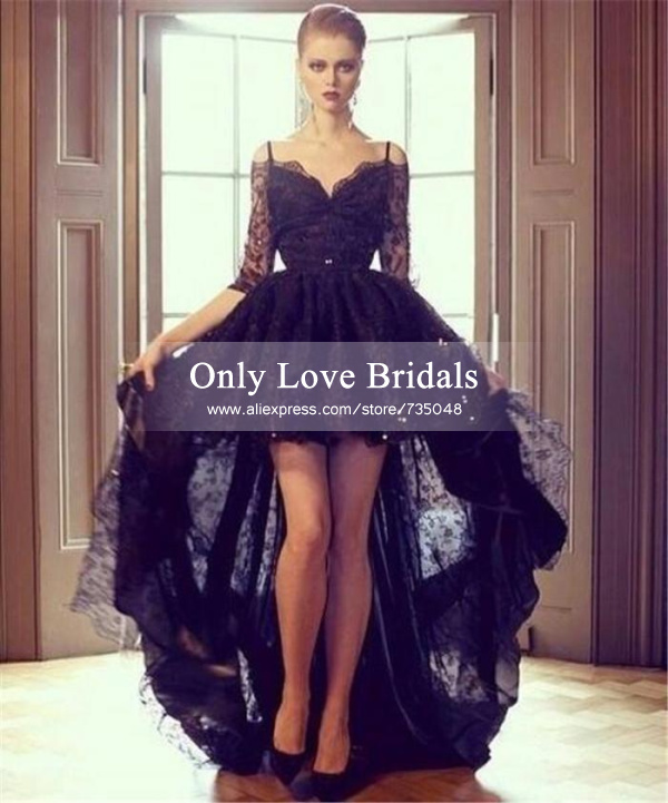 Aliexpress.com : buy elegant black lace sweetheart sheer half sleeve see through short front long back a line evening/prom dresses vestido de festa from reliable dress wedding lace suppliers on only love bridals