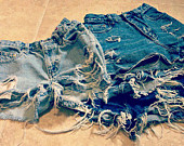 Trendy High Waisted Jean Shorts by shortyshorts on Etsy