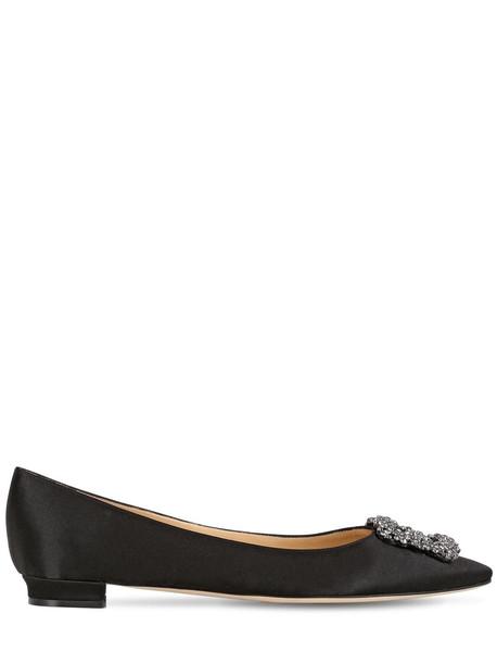MANOLO BLAHNIK 10mm Hangisi Swarovski Silk Satin Flats in black