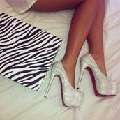 shoes,high heels,stilettos,louboutin,louis vuitton,zebra,sexy,white,silver,glitter,heels