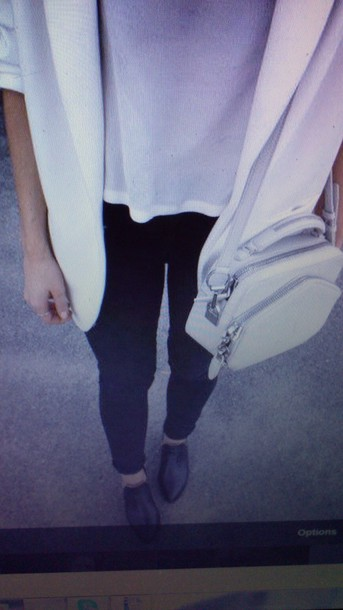 jacket white shoes bag t-shirt