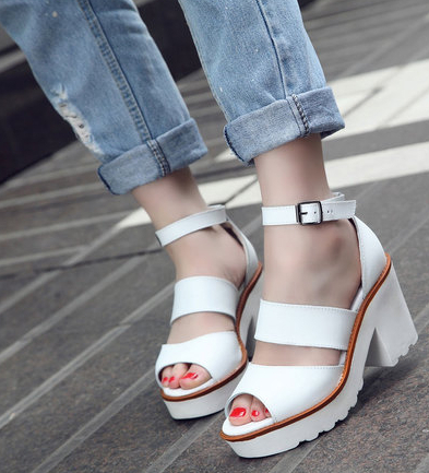 2014 New windsor smith European and American minimalist sandals thick crust  Velcro sandals women-in Pumps from Shoes on Aliexpress.com