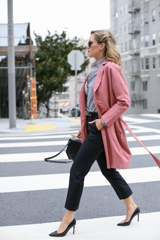 the classy cubicle blogger sunglasses belt jewels black pants pink coat black heels black bag