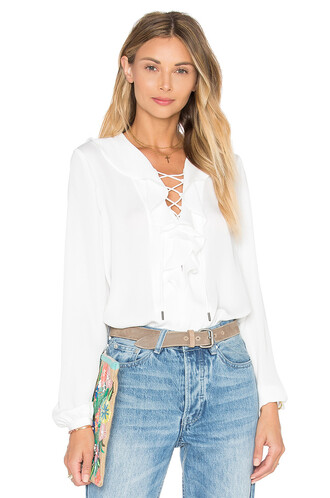blouse boho ruffle white