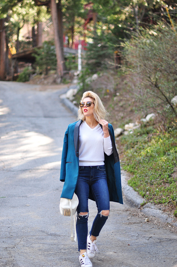 love maegan blogger jeans coat sunglasses bag blue jacket blazer white sweater sneakers spring outfits