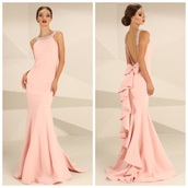 dress,pink,prom,elegant,long dress,mermaid style,low back,high neck,light pink,baby pink,blush,girly,sexy,elegance,bow,cute,pretty,slim fit,evening dress,formal dress,prom dress,prom mermaid dress,pink mermaid style prom dress,sequins,ruffles pleats wedding dresses,ruffles skirts prom dresses,long prom dress,prom gown,fitted prom dress,bodycon dress,pink dress,girly dress,halter neck