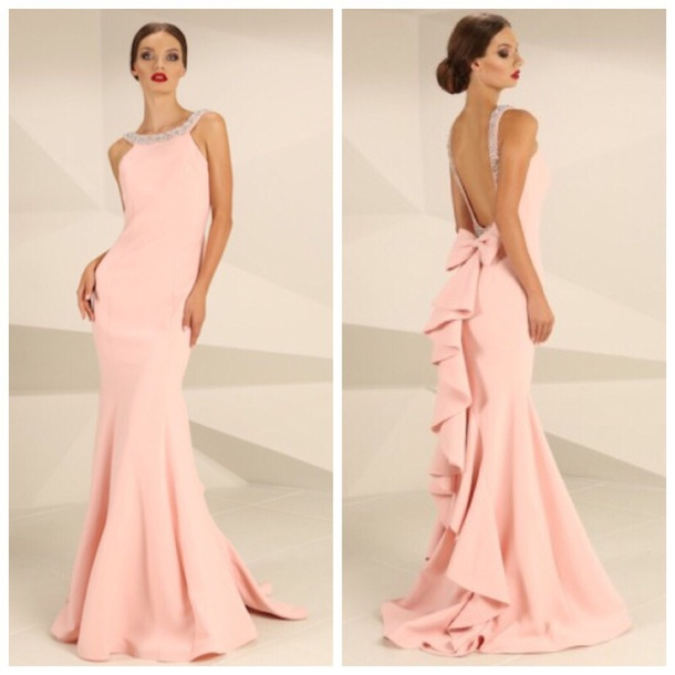 dress, pink, prom, elegant, long dress, mermaid style, low back ...