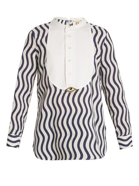 Figue shirt embellished cotton blue top