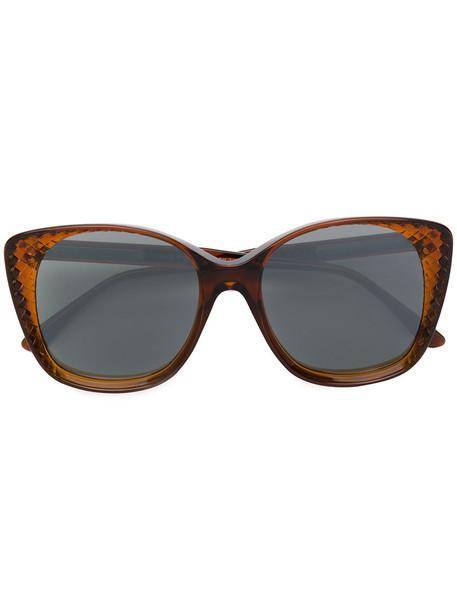 Bottega Veneta Eyewear - cat eye sunglasses - women - Acetate - 54, Brown, Acetate