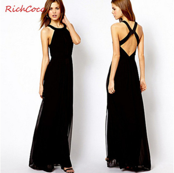 dress black backless full lenthg maxi dress